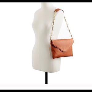 J.Crew Leather Envelope Clutch Purse Shoulder Bag